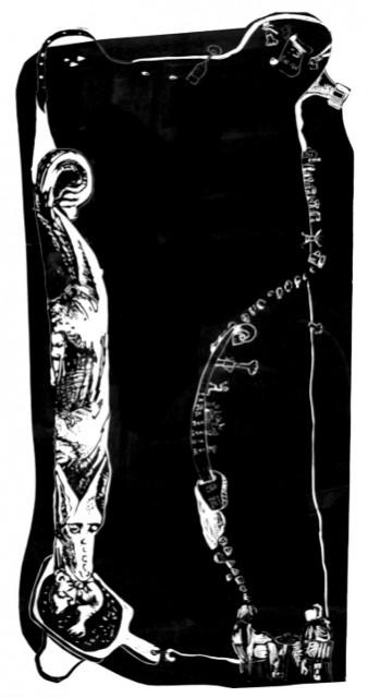 Smacznego 2009 ( Dragon de Boutique Culture à Strasbourg ) linogravure 100x60 cm