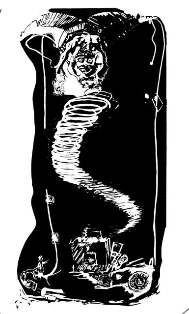 Soldes 2009 (Dragon de Cathédrale Notre-Dame à Strasbourg) linogravure 100x60 cm